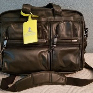 Tumi T-Pass Expandable Alpha Leather Briefcase